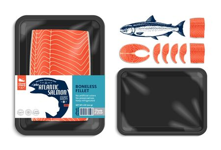 Vector Atlantic salmon packaging illustration. Black foam tray with plastic film mockup. Seafood label for groceries, fisheries, packaging, and advertising