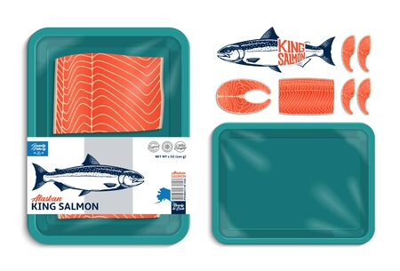 Vector Alaskan king salmon packaging illustration. Salmon steak and fillet. Teal color foam tray with plastic film mockup