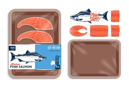 Vector Alaskan pink salmon packaging illustration. Salmon steak and fillet. Brown color foam tray with plastic film mockup. Modern style seafood label