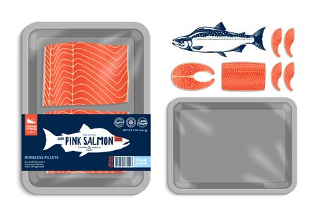 Vector Alaskan pink salmon packaging illustration. Grey foam tray with plastic film mockup. Modern style seafood label for groceries, fisheries, packaging, and advertising