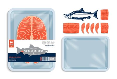 Vector sockeye salmon packaging illustration. Light blue foam tray with plastic film mockup. Seafood label for groceries, fisheries, packaging, and advertising 일러스트