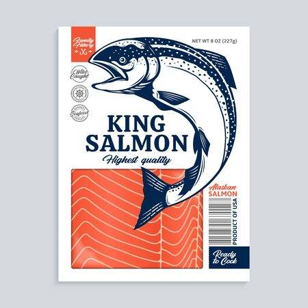 Vector raw king salmon package design concept. Salmon fillet or steak. Modern style seafood illustration