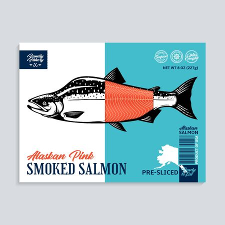 Vector smoked pink salmon package design concept. Modern style seafood label template. Salmon fish illustration