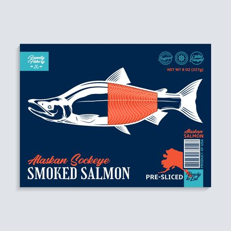 Vector smocked sockeye salmon package design concept. Modern style seafood label template. Salmon fish illustration
