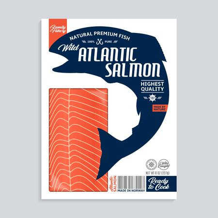 Vector Atlantic salmon package design. Modern style seafood label template