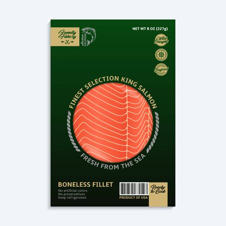 Vector king salmon packaging design concept. Modern style black and green seafood package. Salmon slices in a package isolated on a white background
