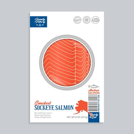 Vector smoked sockeye salmon packaging design concept. Modern style seafood package illustration. Smoked salmon slices in a package isolated on a grey background