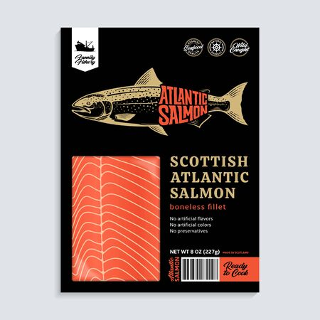 Vector Atlantic salmon packaging design concept. Modern style seafood illustration. Raw salmon fillet in a black package on a grey background Archivio Fotografico - 148115783