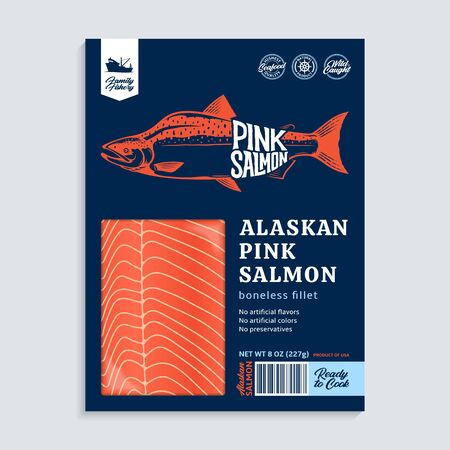 Vector Alaskan pink (humpback) salmon packaging design concept. Modern style seafood illustration. Raw salmon fillet in a blue package on a grey background 일러스트