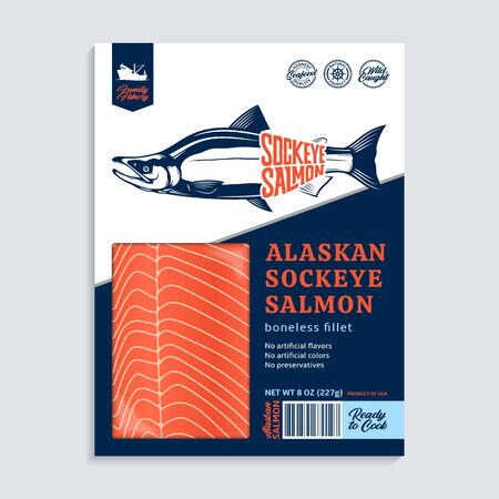 Vector Alaskan sockeye salmon packaging design concept. Modern style seafood illustration. Raw salmon fillet in a blue and white package on a grey background 일러스트