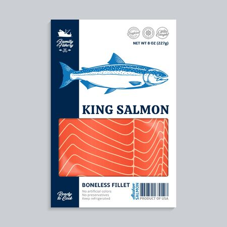 Vector Alaskan king salmon packaging design concept. Modern style seafood illustration. Raw salmon slices in a package on a grey background