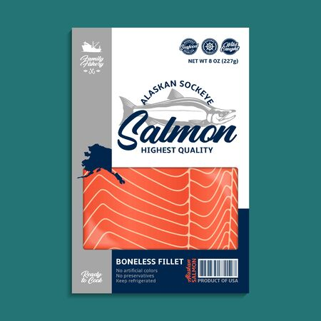 Vector Alaskan sockeye salmon packaging design concept. Modern style seafood illustration. Raw salmon slices in a package on a green background 일러스트