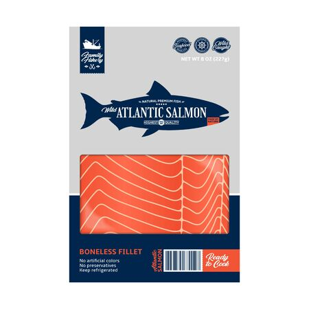 Vector Atlantic salmon packaging design. Modern style seafood label template. Raw salmon fillet in a package on a white background 일러스트