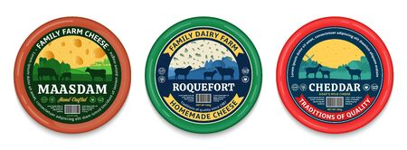 Vector cheese round labels and packaging design elements. Different types of cheese detailed patterns. Dairy farm illustrations with cows, sheep and goats