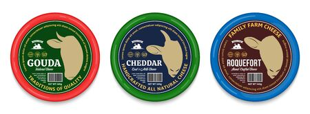 Vector cheese round labels and packaging design templates. Cow, sheep and goat icons