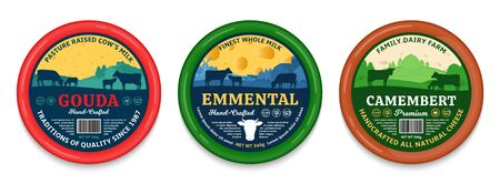 Vector cheese round labels and packaging design elements. Different types of cheese detailed patterns. Dairy farm illustrations with cows and calves
