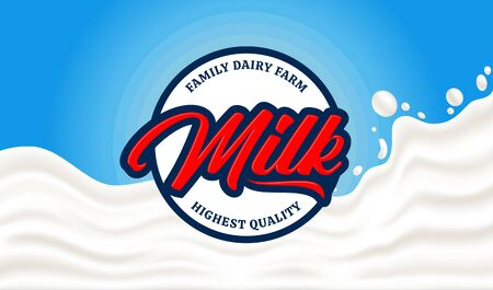 Vector milk round label. Milk splash vector illustration on a blue background. Dairy product modern style banner 일러스트