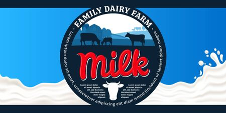 Vector milk round label and packaging design elements. Milk splash vector illustration. Dairy farm illustrations with cows and calves