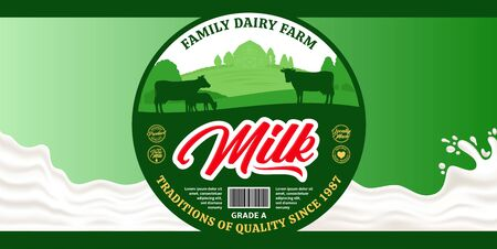 Vector milk round label and packaging design elements. Milk splash and dairy farm illustrations with cows and calves 일러스트