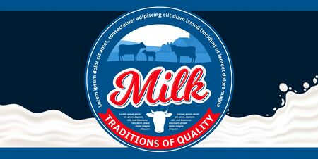 Vector milk round label with cows and calves. Milk splash vector illustration. Dairy product packaging design concept 일러스트