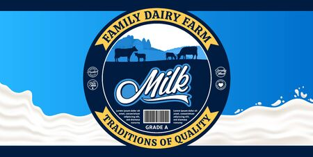 Vector milk round label with cows and calves. Milk splash vector illustration. Dairy product design concept ideal for packaging, branding or advertisment