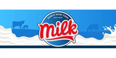 Vector milk round label. Milk splash vector illustration on a blue background. Cow and calf silhouettes. Dairy product modern style banner