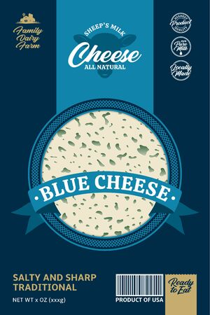 Vector sheep's milk blue cheese packaging or label design. Realistic blue cheese texture