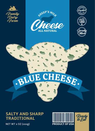 Vector sheep's milk blue cheese packaging design. Realistic blue cheese texture