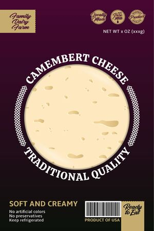 Vector camembert or brie cheese packaging or label design. Realistic cheese texture
