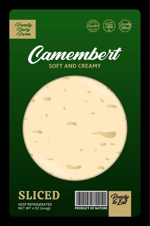 Vector camembert or brie cheese modern style packaging or label design. Realistic cheese texture 일러스트
