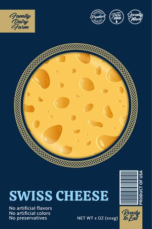 Vector swiss cheese packaging or label design concept. Realistic swiss cheese texture