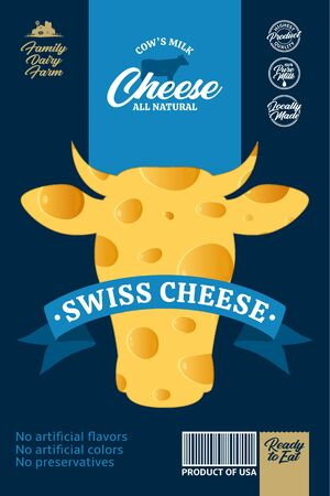Vector cheese packaging with cow and realistic cheese texture
