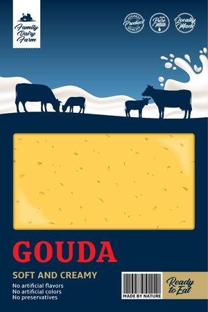 Vector gouda cheese packaging with cows and milk splash. Realistic cheese texture