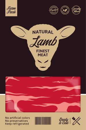 Vector lamb packaging or label design. Sheep icon. Lamb meat background 일러스트