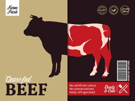 Vector beef packaging or label design. Bull silhouette. Meat beefsteak background Archivio Fotografico - 150406017