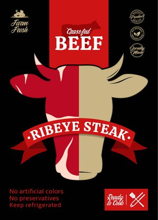 Vector beef packaging or label design. Cow icon and silhouette. Meat beefsteak texture 일러스트