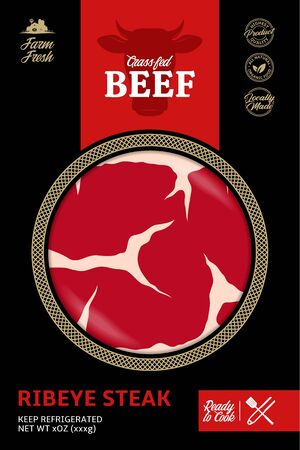 Vector modern style beef packaging or label. Cow icon. Meat beefsteak texture. Butcher's shop or cattle farming design elements