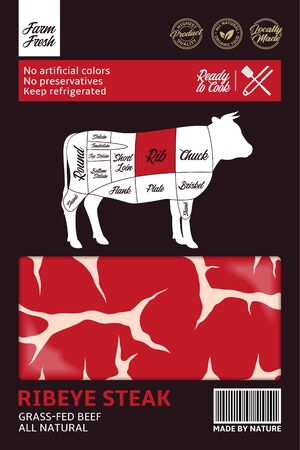 Vector beef packaging design. Bull silhouette. Meat beefsteak background. American (US) cuts of beef diagram 일러스트