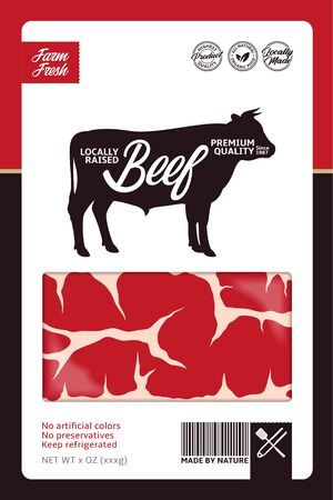 Vector beef packaging or label design concept. Bull silhouette. Meat beefsteak texture. Butcher's shop or cattle farming design elements Archivio Fotografico - 150406023