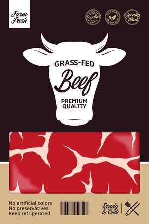Vector beef packaging or label design. Cow icon. Meat beefsteak background 일러스트