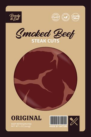 Vector smoked beef packaging design concept. Modern style butcher's shop label