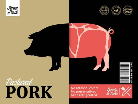 Vector pork packaging or label design. Pig silhouette. Pork meat background