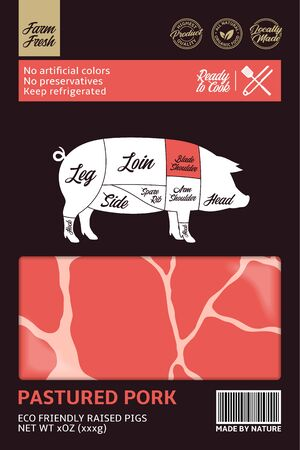 Vector pork packaging design. Pig silhouette. American (US) cuts of pork diagram 일러스트