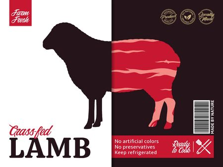 Vector lamb packaging or label design. Sheep silhouette. Lamb meat background Archivio Fotografico - 150406036