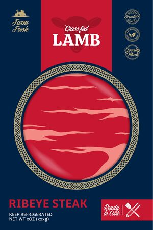 Vector modern style lamb packaging or label. Sheep icon. Lamb meat texture. Butcher's shop or cattle farming design elements