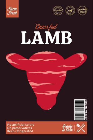 Vector lamb packaging or label. Sheep icon. Lamb meat texture. Butcher's shop design elements Archivio Fotografico - 150406060