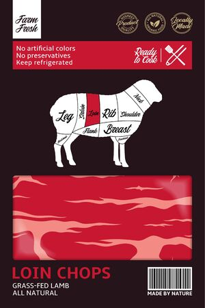 Vector lamb packaging design. Sheep silhouette. American (US) cuts of lamb diagram Archivio Fotografico - 150406062