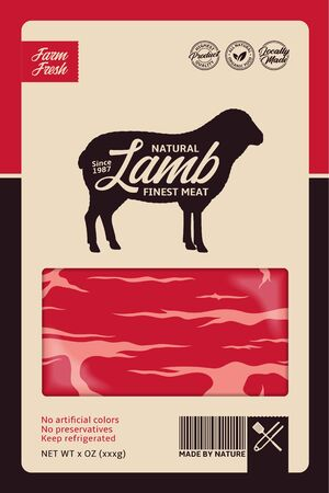 Vector lamb packaging or label design concept. Sheep silhouette. Butcher's shop or cattle farming design elements