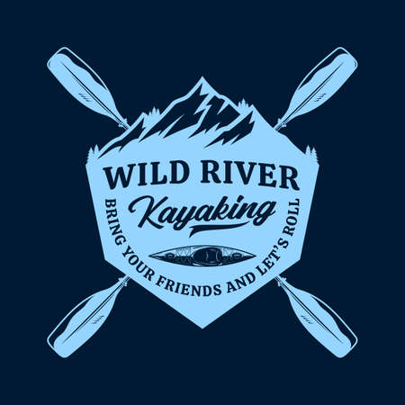 Vector mountain river kayak adventures, camp or club  with paddles, boat and mountain silhouette. Water sport, kayaking, canoeing, rafting badge design concept