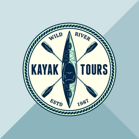 Vector kayak adventures, camp or club round  with paddles and boat. Water sport, kayaking, canoeing, rafting badge design concept 일러스트